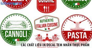 Các chất liệu in decal tem nhãn thực phẩm phổ biến